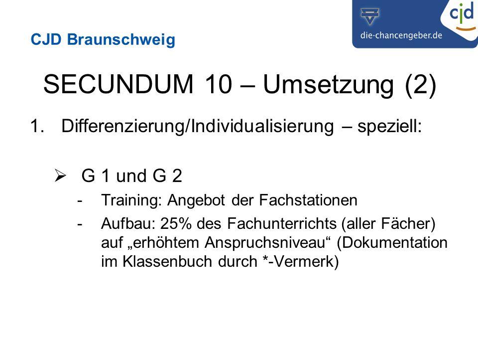 CJD Braunschweig SECUNDUM 10 – Umsetzung (2) 1.Differenzierung/Individualisierung – speziell: G 1 und G 2 -Training: Angebot der Fachstationen -Aufbau: 25% des Fachunterrichts (aller Fächer) auf erhöhtem Anspruchsniveau (Dokumentation im Klassenbuch durch *-Vermerk)