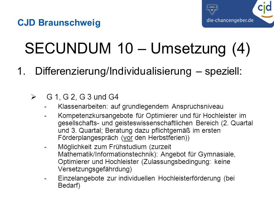 CJD Braunschweig SECUNDUM 10 – Umsetzung (4) 1.Differenzierung/Individualisierung – speziell: G 1, G 2, G 3 und G4 -Klassenarbeiten: auf grundlegendem Anspruchsniveau -Kompetenzkursangebote für Optimierer und für Hochleister im gesellschafts- und geisteswissenschaftlichen Bereich (2.