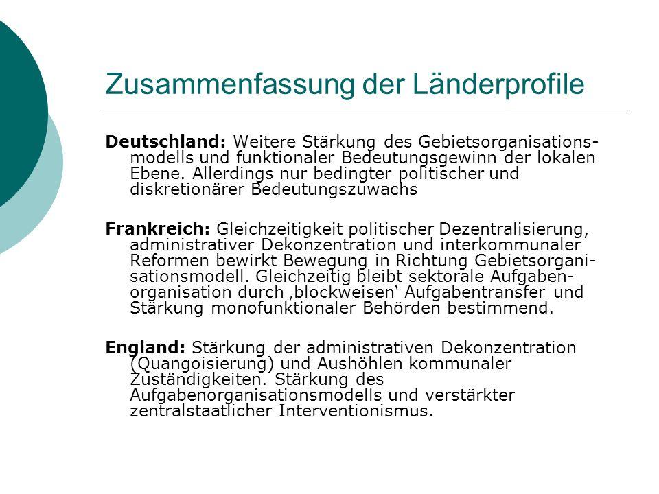 Zusammenfassung der Länderprofile Deutschland: Weitere Stärkung des Gebietsorganisations- modells und funktionaler Bedeutungsgewinn der lokalen Ebene.
