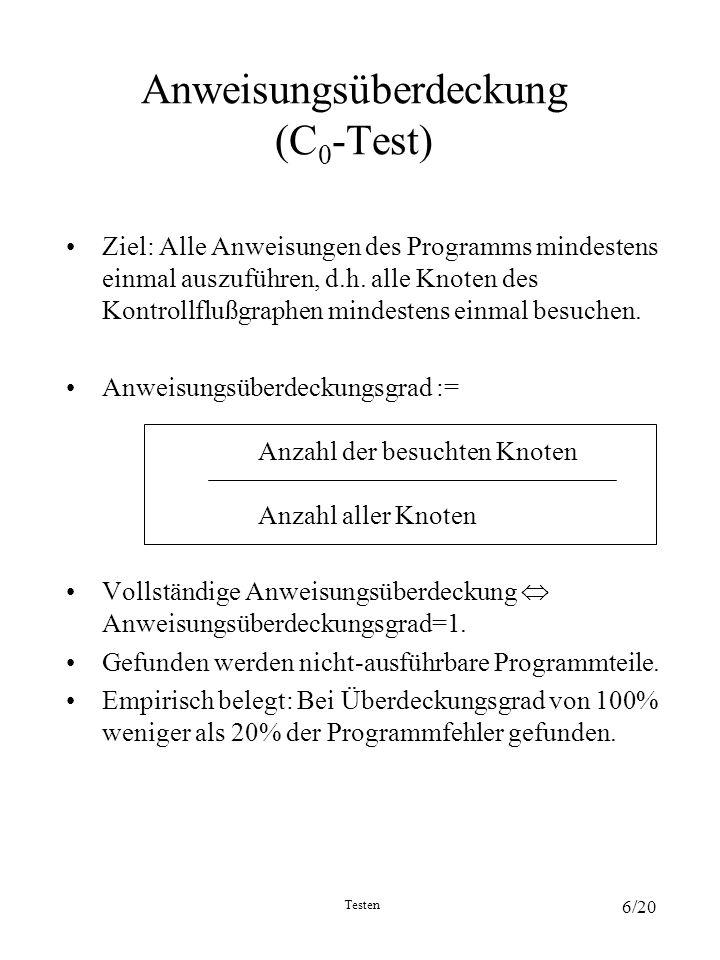 Testen 6/20 Anweisungsüberdeckung (C 0 -Test) Ziel: Alle Anweisungen des Programms mindestens einmal auszuführen, d.h. alle Knoten des Kontrollflußgra