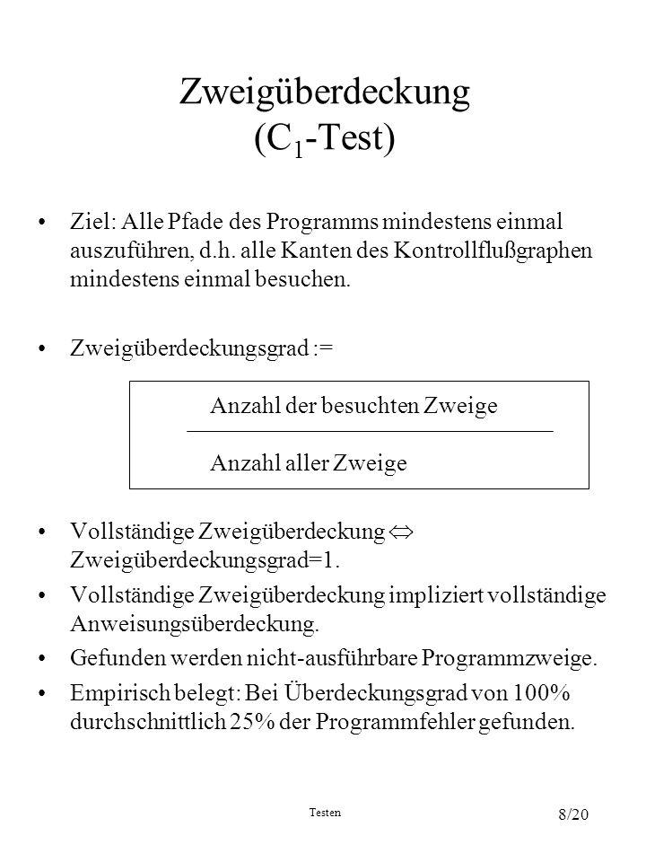 Testen 8/20 Zweigüberdeckung (C 1 -Test) Ziel: Alle Pfade des Programms mindestens einmal auszuführen, d.h. alle Kanten des Kontrollflußgraphen mindes