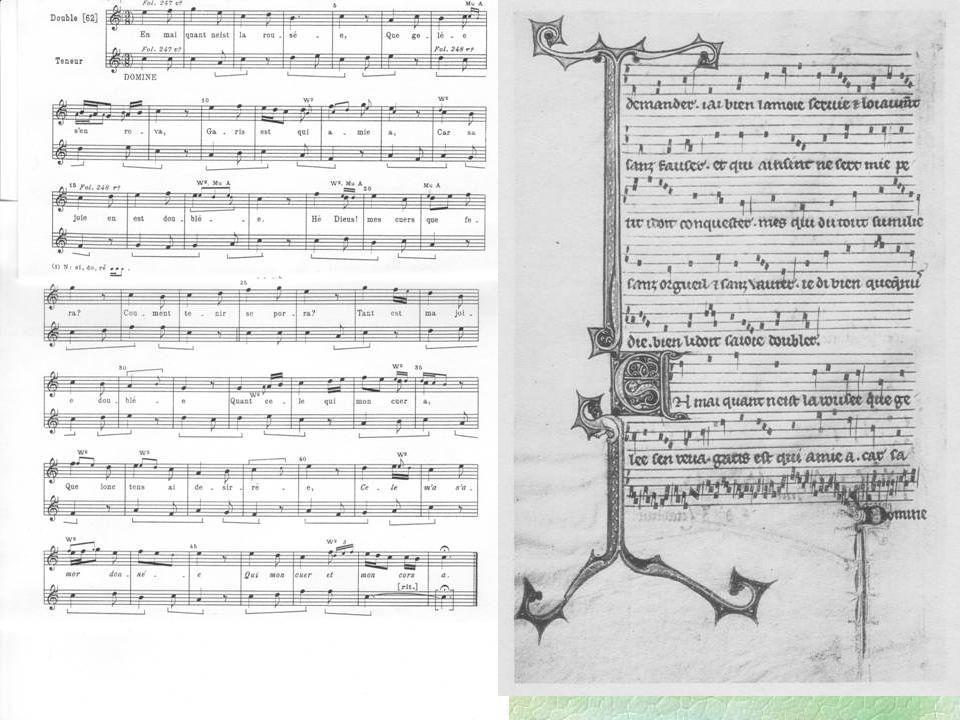 Möglichkeiten der Aufführung §Dreistimmig, wie notiert §Ohne Triplum §Jede Stimme einzeln l Beleg: Liedersammlungen des 13.
