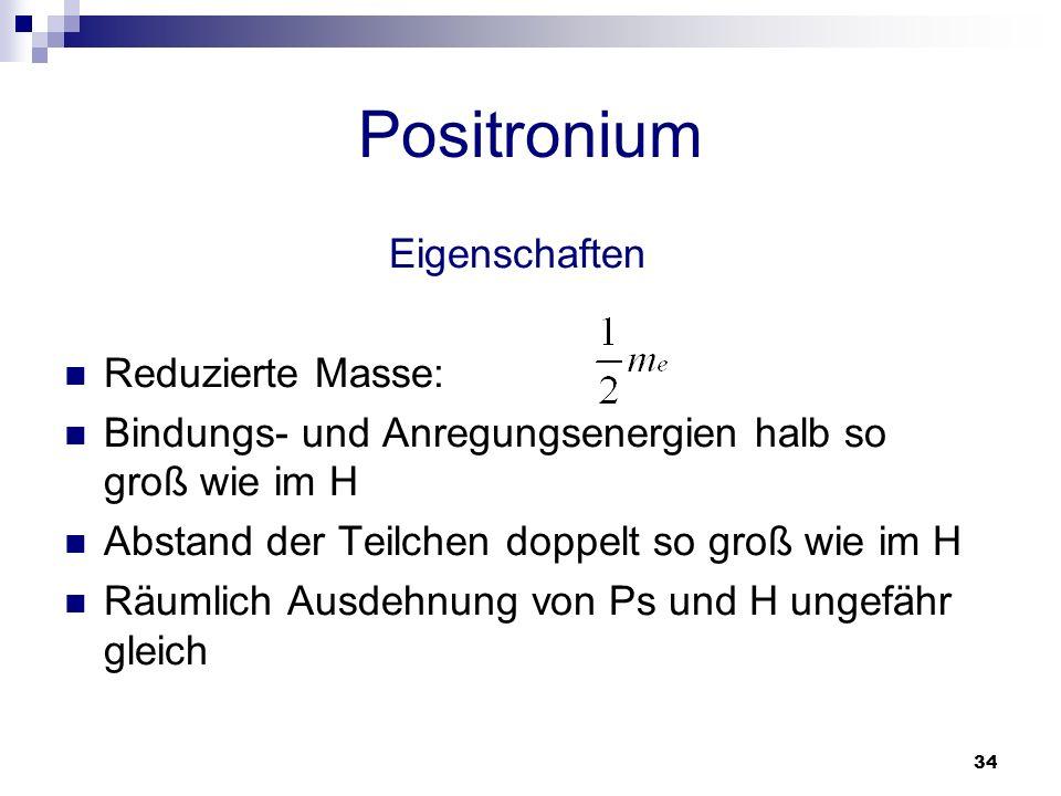 34 Positronium Eigenschaften Reduzierte Masse: Bindungs- und Anregungsenergien halb so groß wie im H Abstand der Teilchen doppelt so groß wie im H Räu
