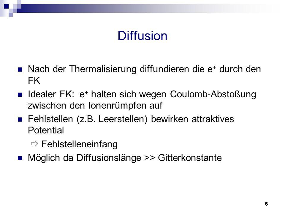 6 Diffusion Nach der Thermalisierung diffundieren die e + durch den FK Idealer FK: e + halten sich wegen Coulomb-Abstoßung zwischen den Ionenrümpfen a