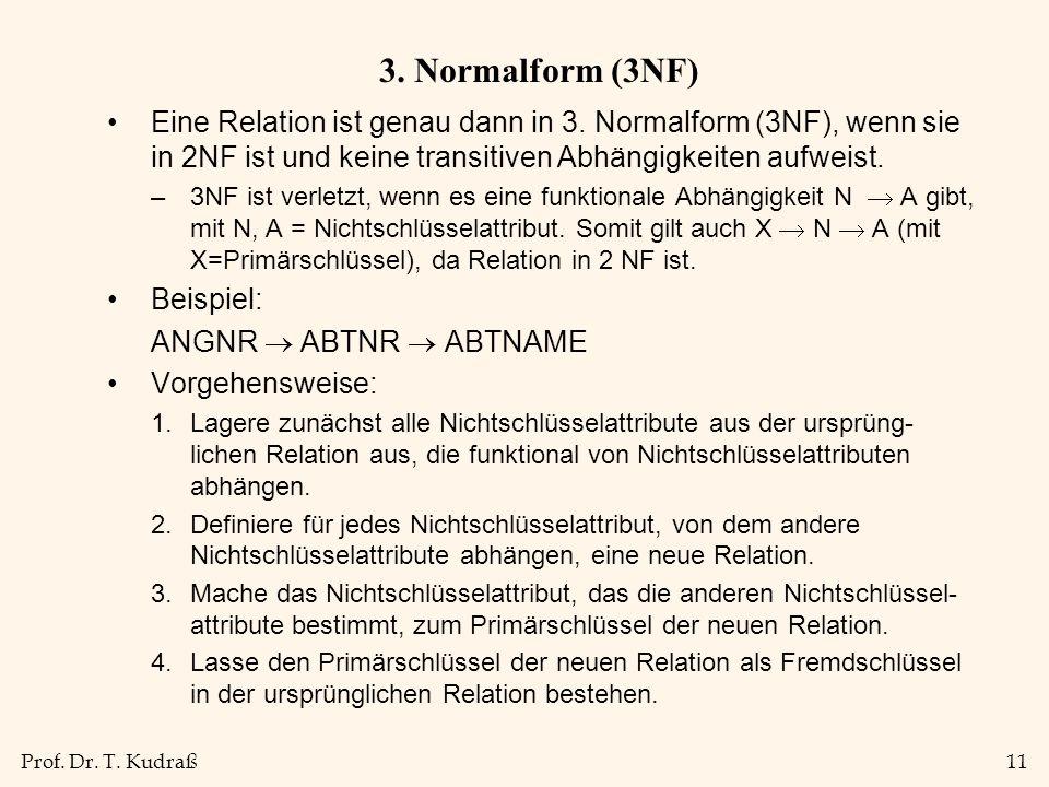 Prof.Dr. T. Kudraß11 3. Normalform (3NF) Eine Relation ist genau dann in 3.