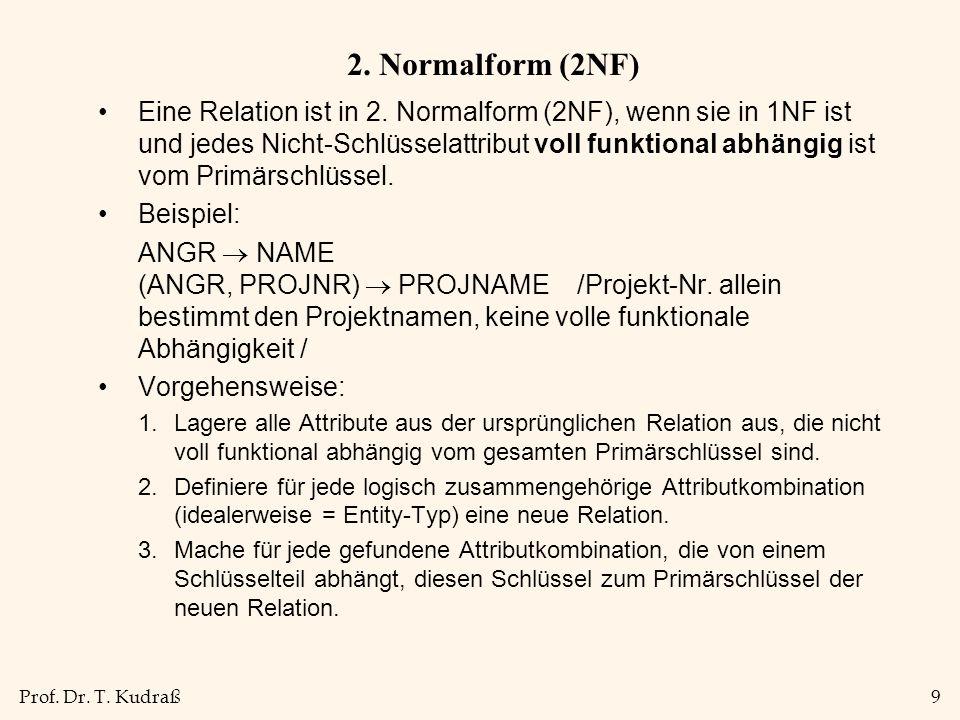 Prof.Dr. T. Kudraß9 2. Normalform (2NF) Eine Relation ist in 2.