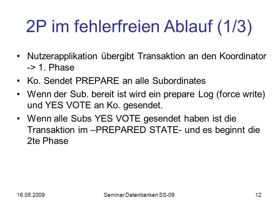 16.05.2009Seminar Datenbanken SS-0912 2P im fehlerfreien Ablauf (1/3) Nutzerapplikation übergibt Transaktion an den Koordinator -> 1.