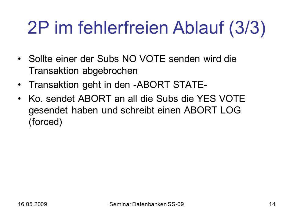 16.05.2009Seminar Datenbanken SS-0914 2P im fehlerfreien Ablauf (3/3) Sollte einer der Subs NO VOTE senden wird die Transaktion abgebrochen Transaktion geht in den -ABORT STATE- Ko.