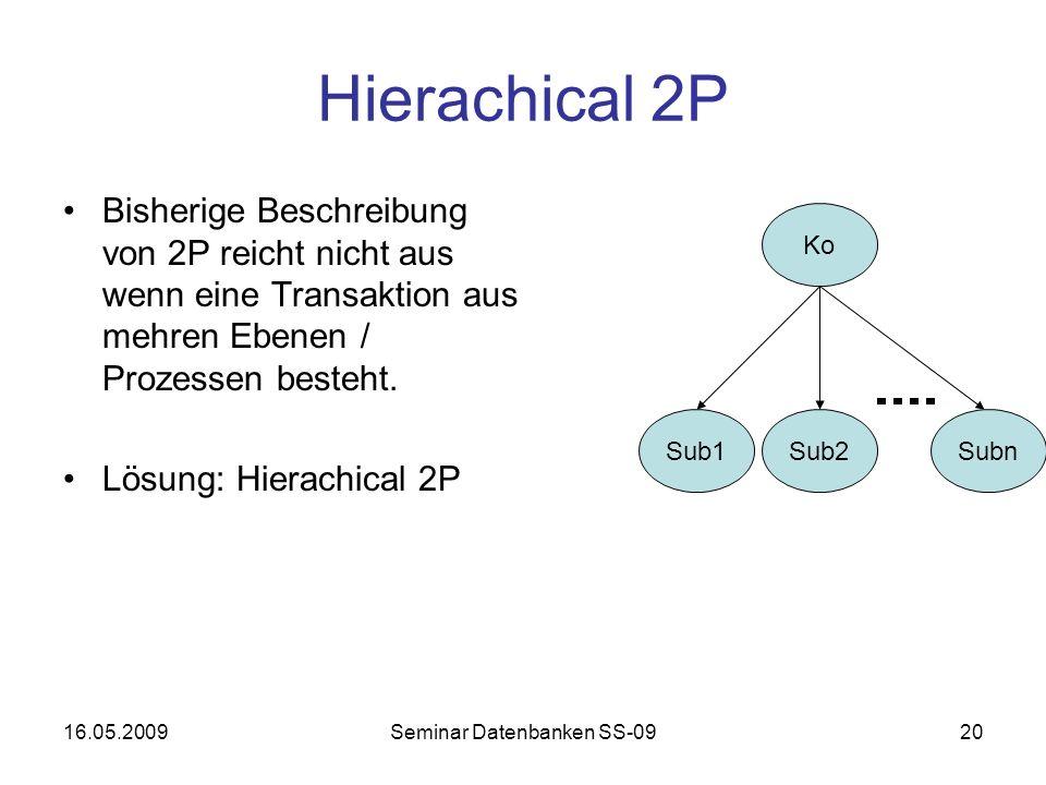 16.05.2009Seminar Datenbanken SS-0920 Hierachical 2P Bisherige Beschreibung von 2P reicht nicht aus wenn eine Transaktion aus mehren Ebenen / Prozessen besteht.