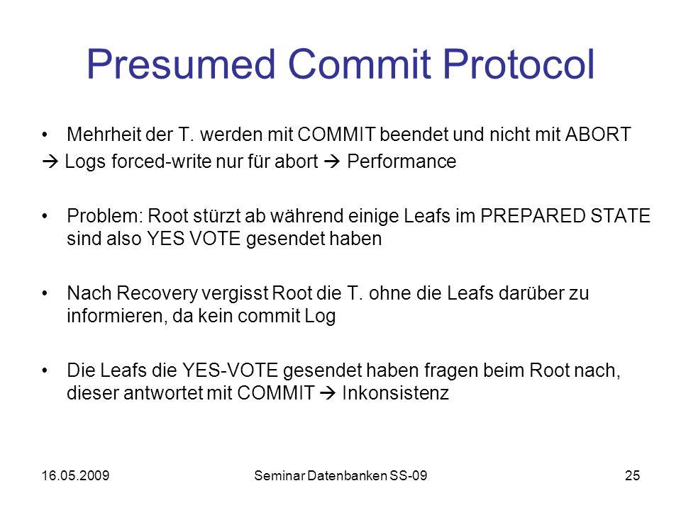 16.05.2009Seminar Datenbanken SS-0925 Presumed Commit Protocol Mehrheit der T.
