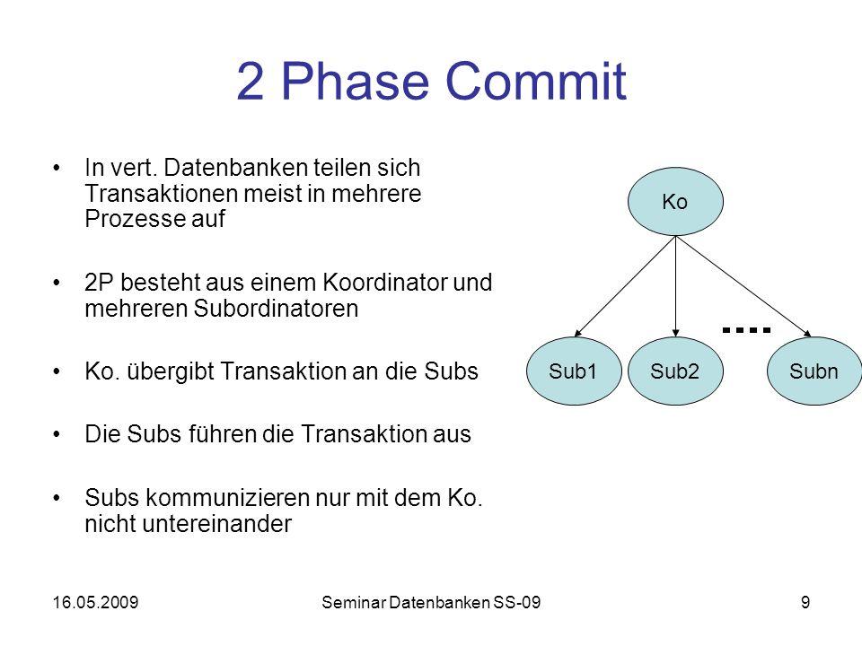 16.05.2009Seminar Datenbanken SS-099 2 Phase Commit In vert.