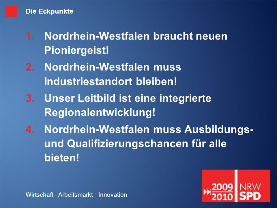 Wirtschaft - Arbeitsmarkt - Innovation Die Eckpunkte Nordrhein-Westfalen braucht neuen Pioniergeist.
