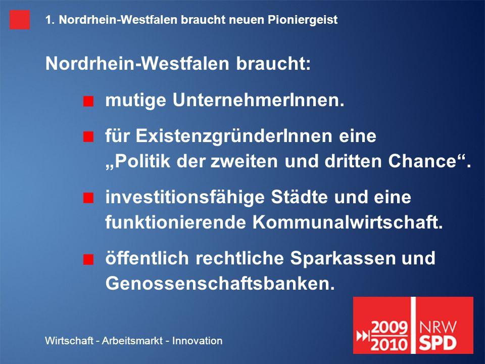 Wirtschaft - Arbeitsmarkt - Innovation 2.Nordrhein-Westfalen muss Industriestandort bleiben.
