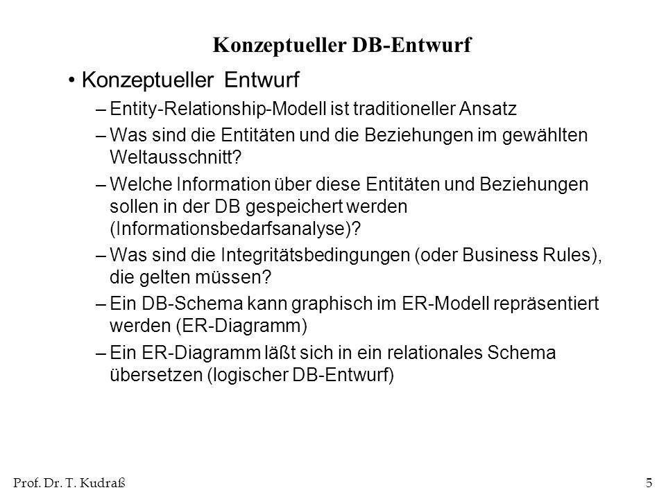 Prof.Dr. T. Kudraß26 Entity vs.