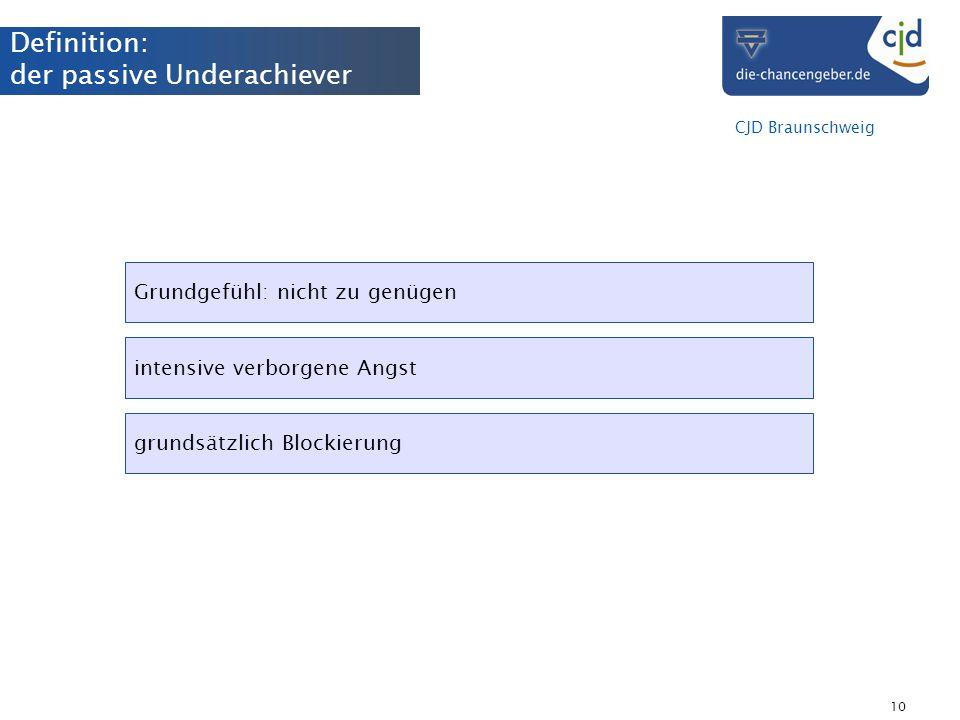 CJD Braunschweig 10 Definition: der passive Underachiever Grundgefühl: nicht zu genügen intensive verborgene Angst grundsätzlich Blockierung
