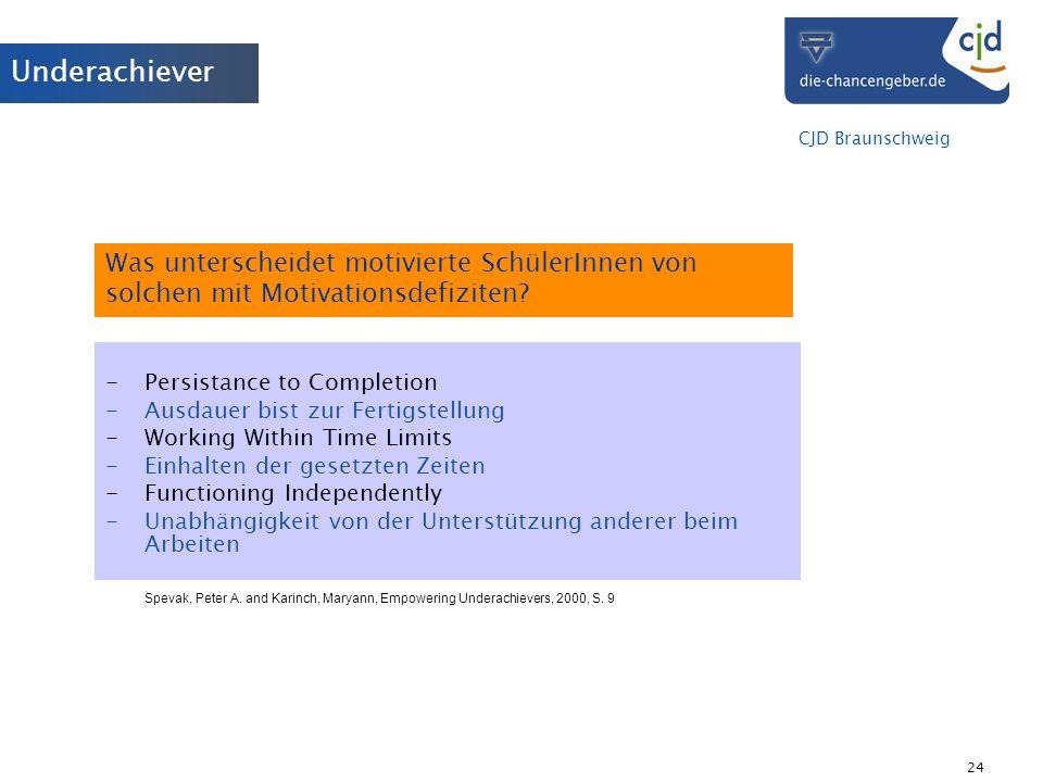 CJD Braunschweig 24 Was unterscheidet motivierte SchülerInnen von solchen mit Motivationsdefiziten? -Persistance to Completion -Ausdauer bist zur Fert