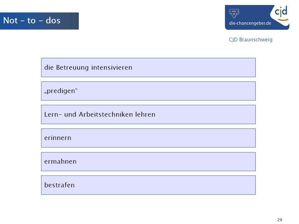 CJD Braunschweig 29 Not - to - dos die Betreuung intensivieren predigen Lern- und Arbeitstechniken lehren erinnern ermahnen bestrafen