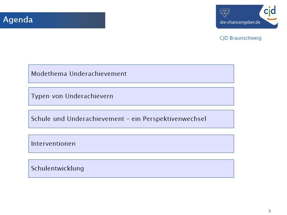 CJD Braunschweig 3 Agenda Modethema Underachievement Typen von Underachievern Schule und Underachievement – ein Perspektivenwechsel Schulentwicklung I