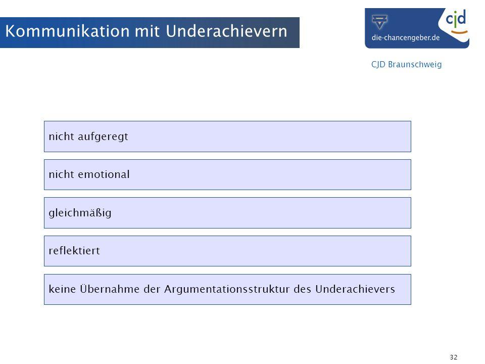 CJD Braunschweig 32 Kommunikation mit Underachievern nicht aufgeregt nicht emotional gleichmäßig reflektiert keine Übernahme der Argumentationsstruktu