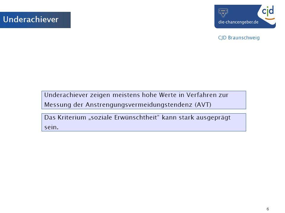 CJD Braunschweig 6 Underachiever Underachiever zeigen meistens hohe Werte in Verfahren zur Messung der Anstrengungsvermeidungstendenz (AVT) Das Kriter