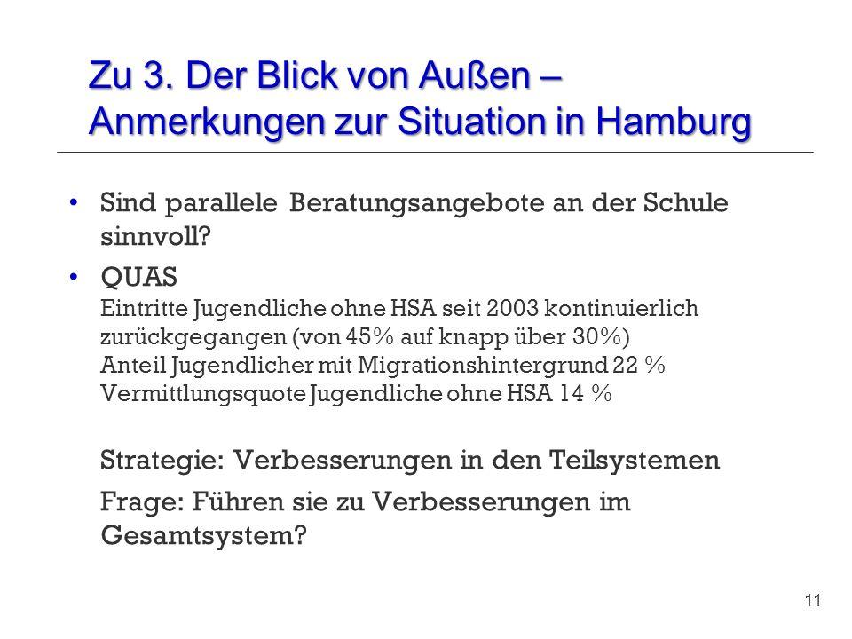 Zu 3. Der Blick von Außen – Anmerkungen zur Situation in Hamburg Sind parallele Beratungsangebote an der Schule sinnvoll? QUAS Eintritte Jugendliche o