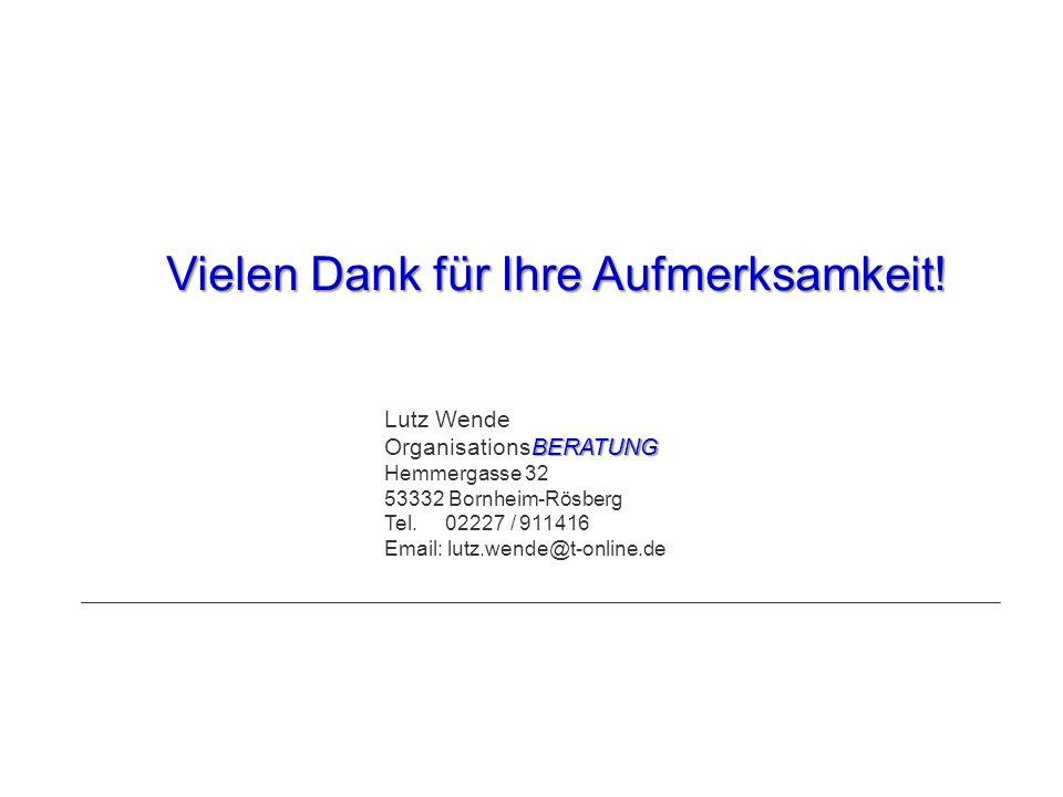Vielen Dank für Ihre Aufmerksamkeit! Lutz Wende BERATUNG OrganisationsBERATUNG Hemmergasse 32 53332 Bornheim-Rösberg Tel. 02227 / 911416 Email: lutz.w