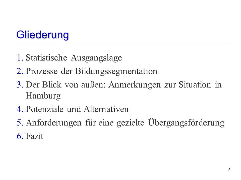 liederung Gliederung 2 1.Statistische Ausgangslage 2.Prozesse der Bildungssegmentation 3.Der Blick von außen: Anmerkungen zur Situation in Hamburg 4.P