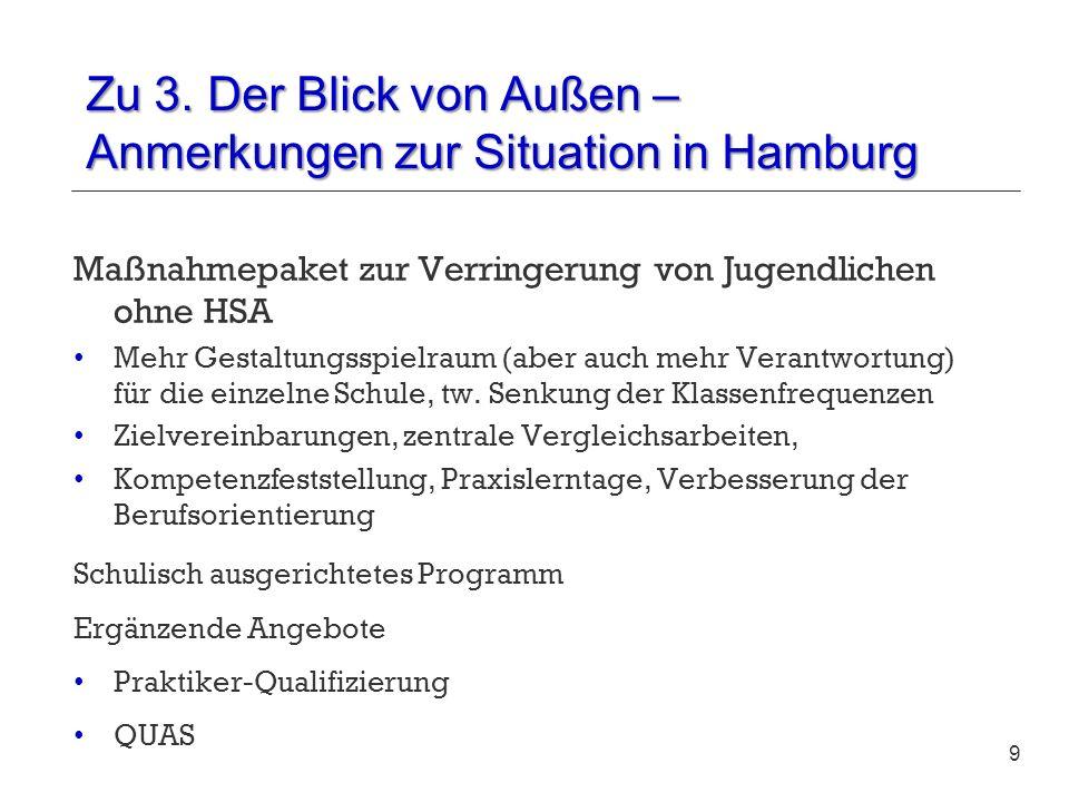 Zu 3. Der Blick von Außen – Anmerkungen zur Situation in Hamburg Maßnahmepaket zur Verringerung von Jugendlichen ohne HSA Mehr Gestaltungsspielraum (a