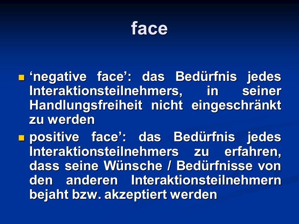 face negative face: das Bedürfnis jedes Interaktionsteilnehmers, in seiner Handlungsfreiheit nicht eingeschränkt zu werden negative face: das Bedürfni