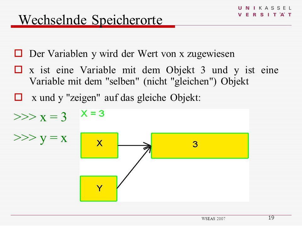 19 WSEAS 2007 Wechselnde Speicherorte Der Variablen y wird der Wert von x zugewiesen x ist eine Variable mit dem Objekt 3 und y ist eine Variable mit