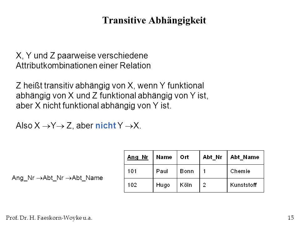 Prof. Dr. H. Faeskorn-Woyke u.a.15 X, Y und Z paarweise verschiedene Attributkombinationen einer Relation Z heißt transitiv abhängig von X, wenn Y fun