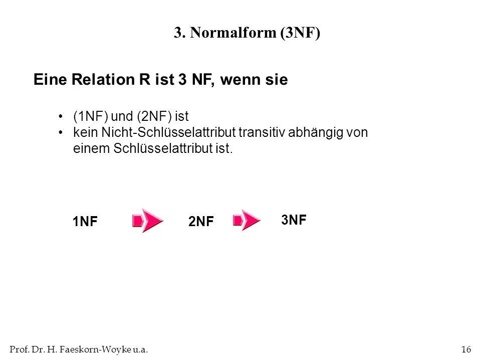 Prof. Dr. H. Faeskorn-Woyke u.a.16 Eine Relation R ist 3 NF, wenn sie (1NF) und (2NF) ist kein Nicht-Schlüsselattribut transitiv abhängig von einem Sc