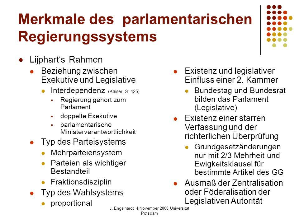 J. Engelhardt 4.November 2008 Universität Potsdam Merkmale des parlamentarischen Regierungssystems Lijpharts Rahmen Beziehung zwischen Exekutive und L