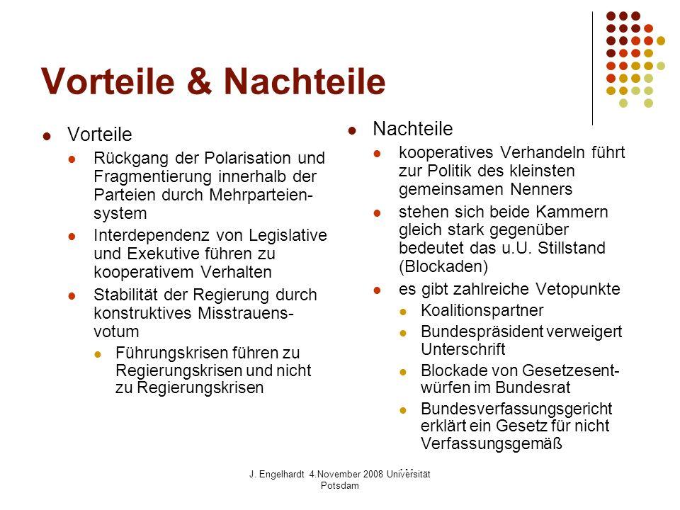J. Engelhardt 4.November 2008 Universität Potsdam Vorteile & Nachteile Vorteile Rückgang der Polarisation und Fragmentierung innerhalb der Parteien du