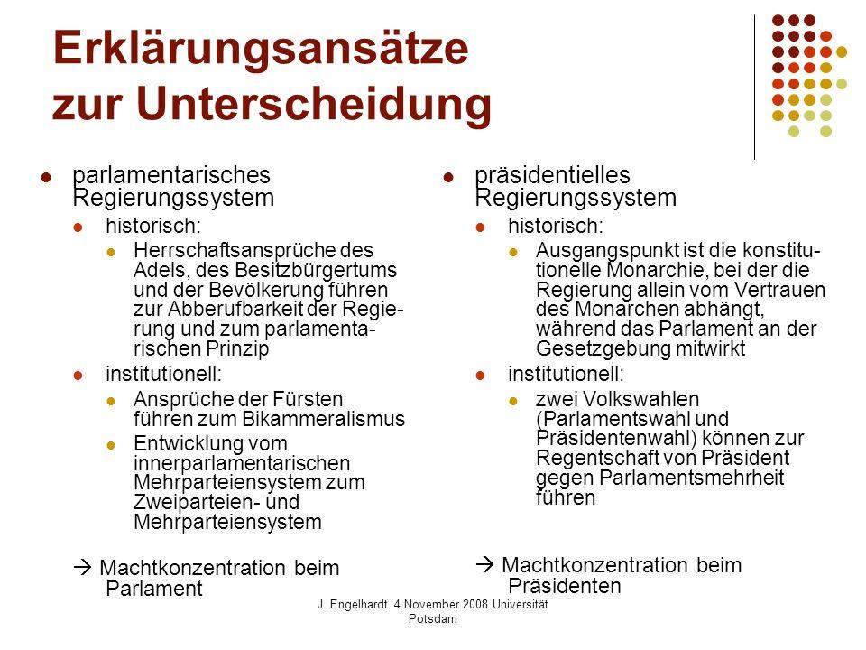J. Engelhardt 4.November 2008 Universität Potsdam Erklärungsansätze zur Unterscheidung parlamentarisches Regierungssystem historisch: Herrschaftsanspr