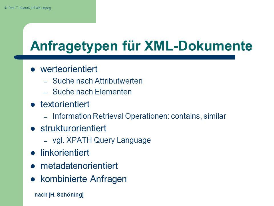© Prof. T. Kudraß, HTWK Leipzig Anfragetypen für XML-Dokumente werteorientiert – Suche nach Attributwerten – Suche nach Elementen textorientiert – Inf