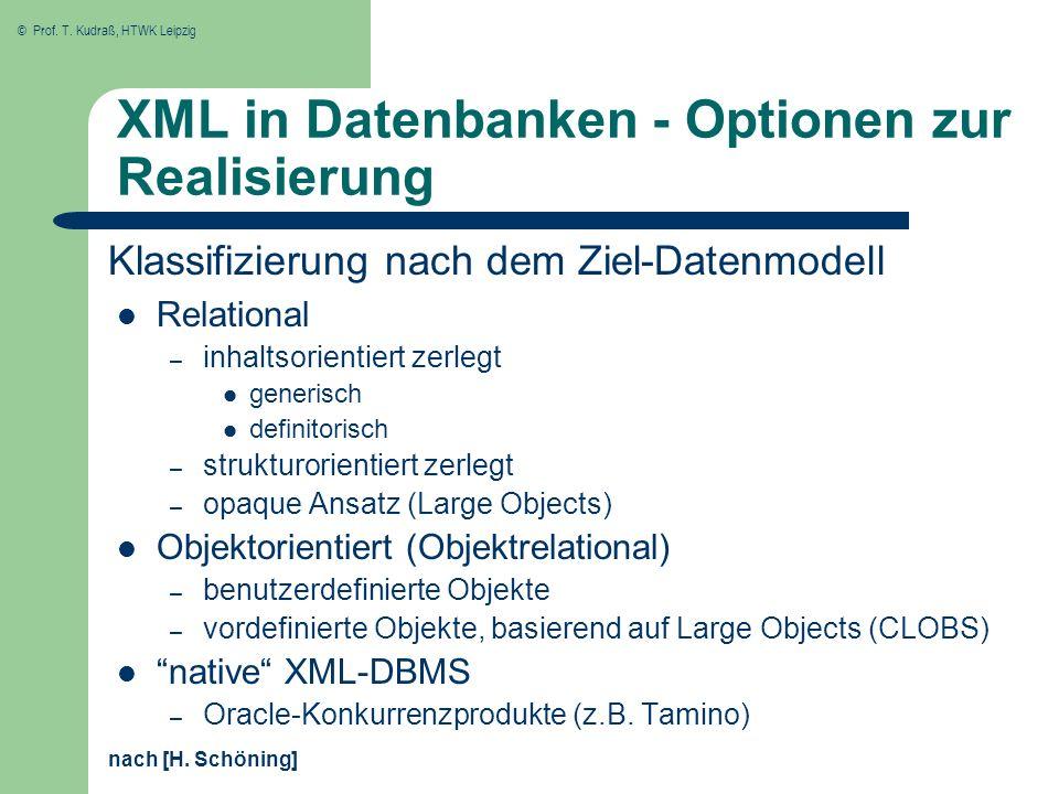 © Prof. T. Kudraß, HTWK Leipzig XML in Datenbanken - Optionen zur Realisierung Relational – inhaltsorientiert zerlegt generisch definitorisch – strukt