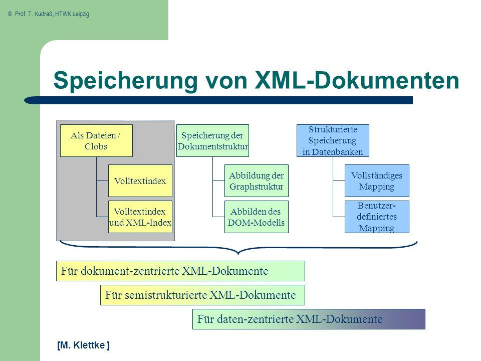 © Prof. T. Kudraß, HTWK Leipzig Volltextindex und XML-Index Volltextindex Als Dateien / Clobs Speicherung der Dokumentstruktur Strukturierte Speicheru