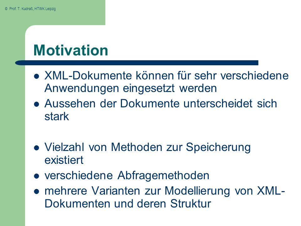 © Prof. T. Kudraß, HTWK Leipzig Motivation XML-Dokumente können für sehr verschiedene Anwendungen eingesetzt werden Aussehen der Dokumente unterscheid