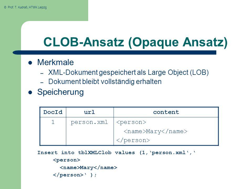 © Prof. T. Kudraß, HTWK Leipzig CLOB-Ansatz (Opaque Ansatz) Merkmale – XML-Dokument gespeichert als Large Object (LOB) – Dokument bleibt vollständig e