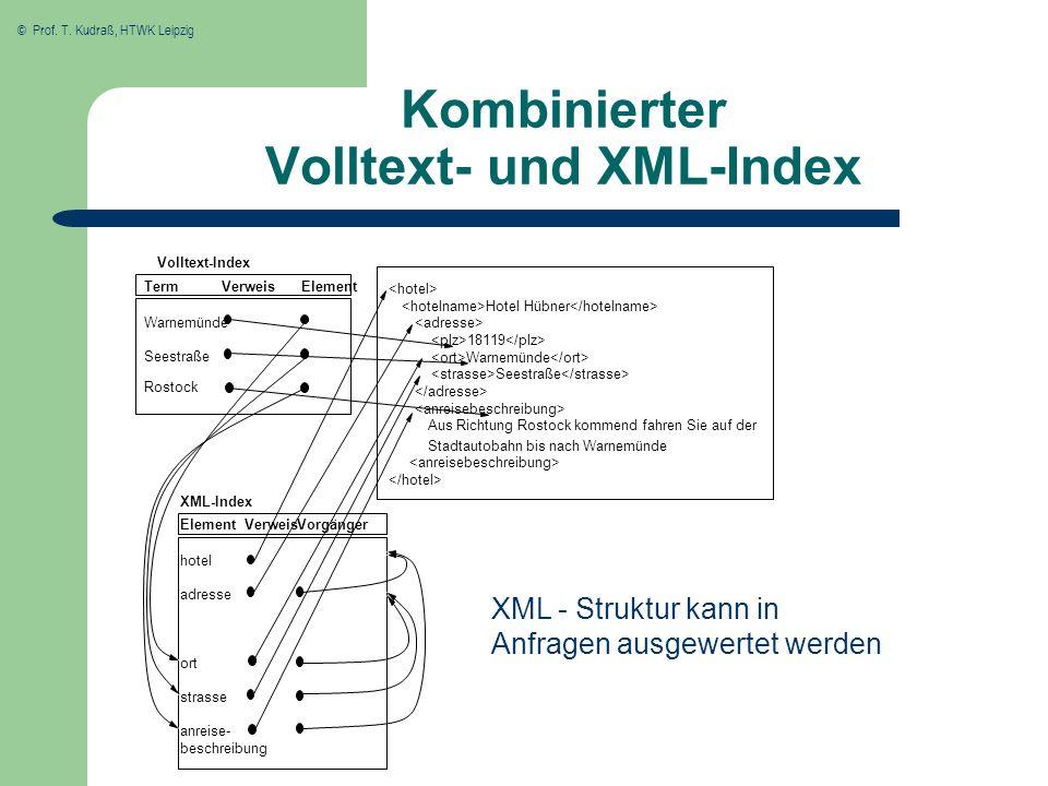 © Prof. T. Kudraß, HTWK Leipzig Kombinierter Volltext- und XML-Index XML - Struktur kann in Anfragen ausgewertet werden Verweis Seestraße... Vorgänger