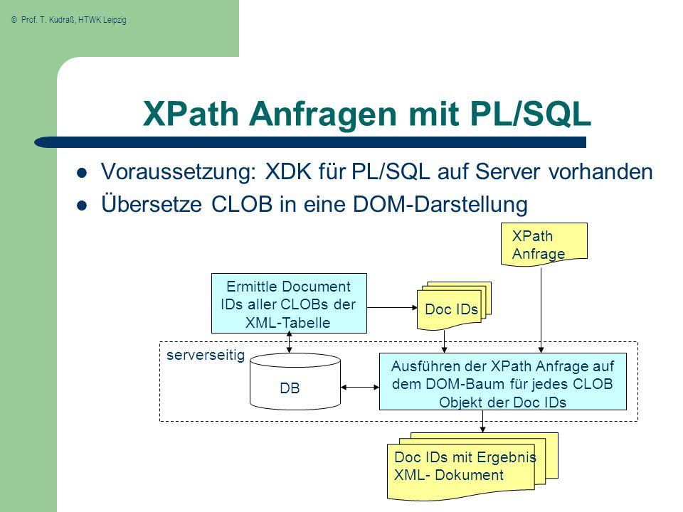 © Prof. T. Kudraß, HTWK Leipzig XPath Anfragen mit PL/SQL Voraussetzung: XDK für PL/SQL auf Server vorhanden Übersetze CLOB in eine DOM-Darstellung XP