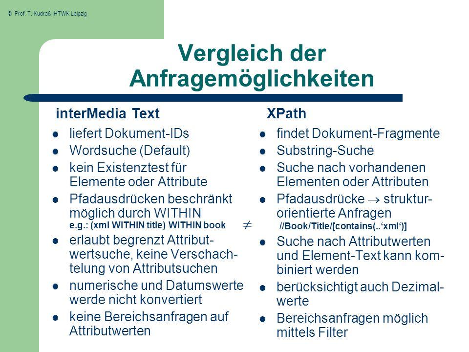© Prof. T. Kudraß, HTWK Leipzig Vergleich der Anfragemöglichkeiten liefert Dokument-IDs Wordsuche (Default) kein Existenztest für Elemente oder Attrib