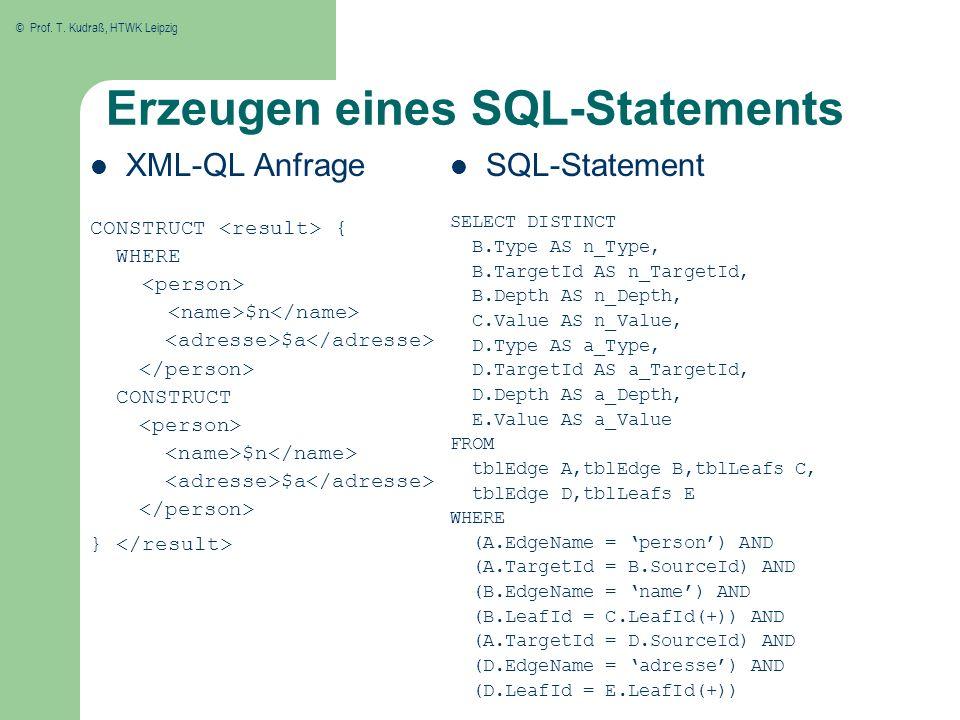 © Prof. T. Kudraß, HTWK Leipzig Erzeugen eines SQL-Statements XML-QL Anfrage CONSTRUCT { WHERE $n $a CONSTRUCT $n $a } SQL-Statement SELECT DISTINCT B