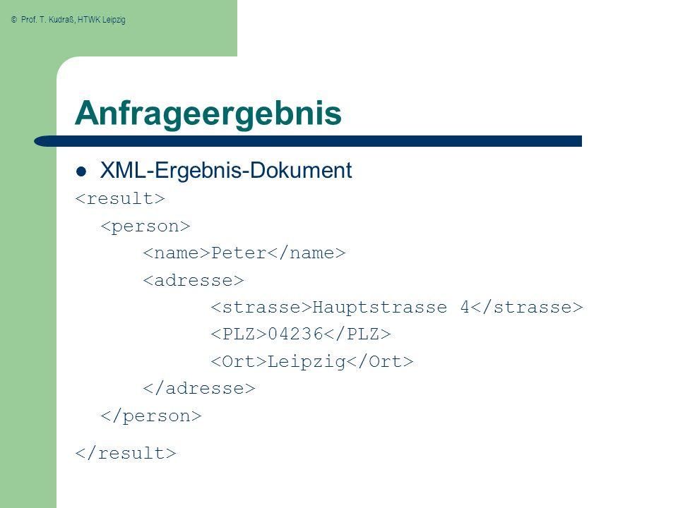 © Prof. T. Kudraß, HTWK Leipzig Anfrageergebnis XML-Ergebnis-Dokument Peter Hauptstrasse 4 04236 Leipzig