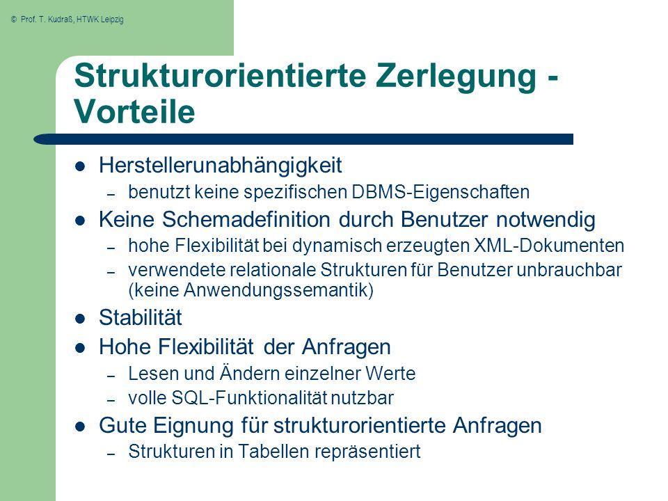 © Prof. T. Kudraß, HTWK Leipzig Strukturorientierte Zerlegung - Vorteile Herstellerunabhängigkeit – benutzt keine spezifischen DBMS-Eigenschaften Kein