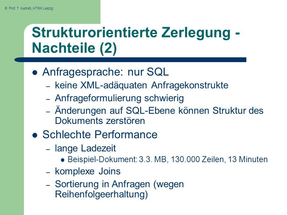 © Prof. T. Kudraß, HTWK Leipzig Strukturorientierte Zerlegung - Nachteile (2) Anfragesprache: nur SQL – keine XML-adäquaten Anfragekonstrukte – Anfrag