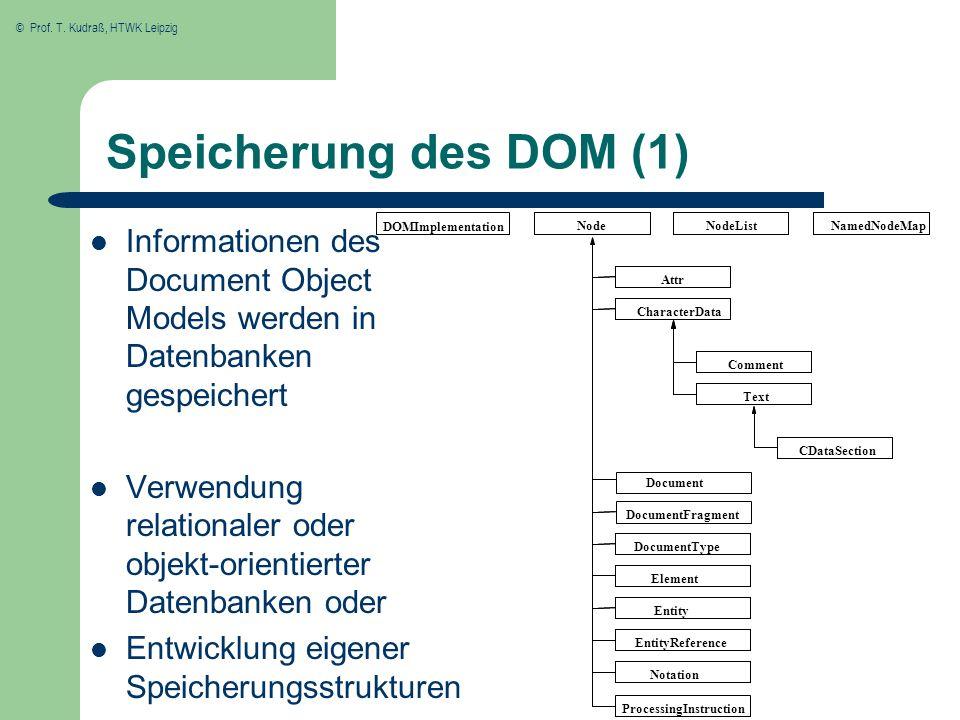 © Prof. T. Kudraß, HTWK Leipzig Speicherung des DOM (1) Informationen des Document Object Models werden in Datenbanken gespeichert Verwendung relation