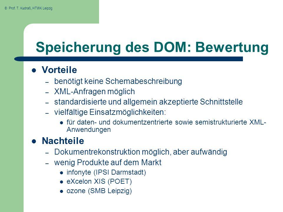 © Prof. T. Kudraß, HTWK Leipzig Speicherung des DOM: Bewertung Vorteile – benötigt keine Schemabeschreibung – XML-Anfragen möglich – standardisierte u