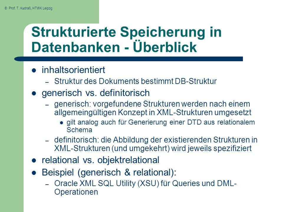 © Prof. T. Kudraß, HTWK Leipzig Strukturierte Speicherung in Datenbanken - Überblick inhaltsorientiert – Struktur des Dokuments bestimmt DB-Struktur g